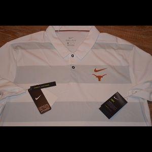 Nike White Texas Longhorns Polo Dri-Fit Shirt NWT!